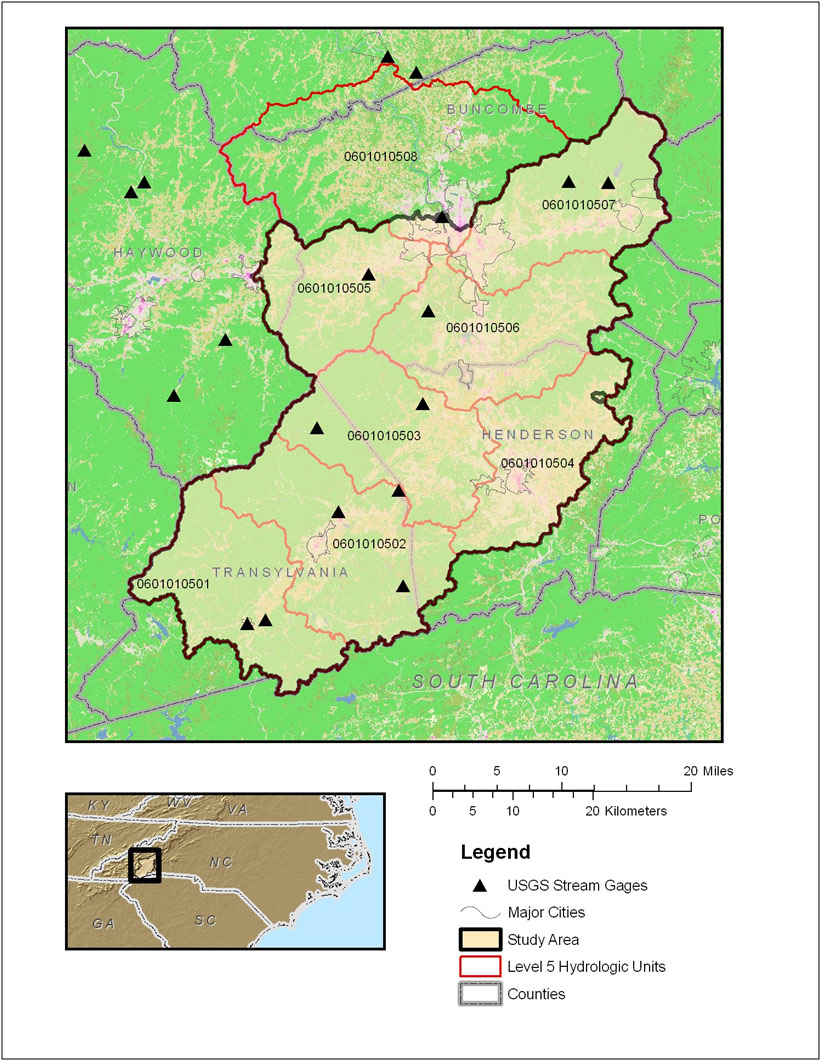 USGS North Carolina WSC - Projects - Upper French Broad StreamStats ...