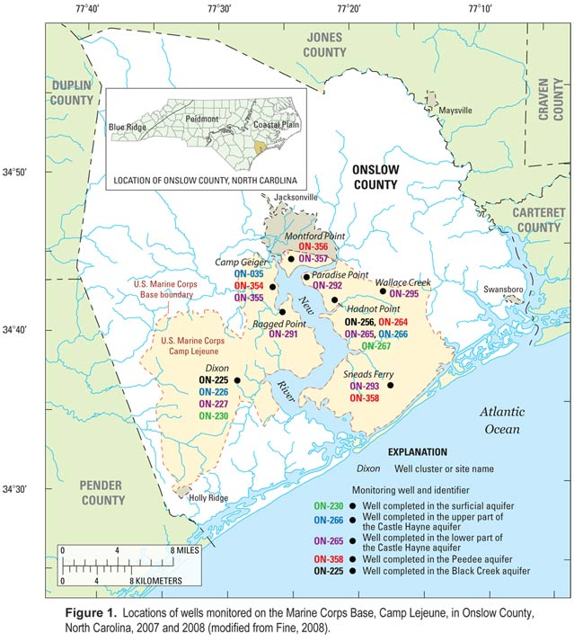 USGS North Carolina WSC - Projects - Camp Lejeune Groundwater Level on