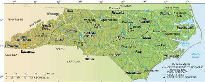 OFR North Carolina District Science Plan - North carolina lakes map