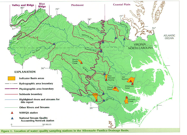 The Dan Roanoke Meherrin Nottoway Blackwater Tar And Neuse Rivers And Contentnea Creek Are The Major Streams In The Albemarle Pamlico Drainage Basin
